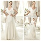 Ivory Chiffon V-neckline Backless Short Sleeve Wedding Dress