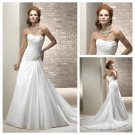 Silver Stones Beads Long White Taffeta Wedding Dress