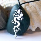 Tribal dragon, stainless steel pendant on natural leather cord. A surfer style necklace