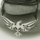 Tribal Eagle, stainless steel pendant on natural leather cord. A surfer style necklace