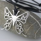 Butterfly stainless steel pendant on natural leather cord.               A surfer style necklace