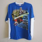 Star Wars Clone Wars Long Sleeve Blue White NWT New Boys 100% Cotton Size XL
