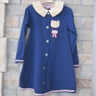 Buster Brown Navy Blue Corduroy Dress Teddy Bear Face Hugs Kisses Red Trim 5