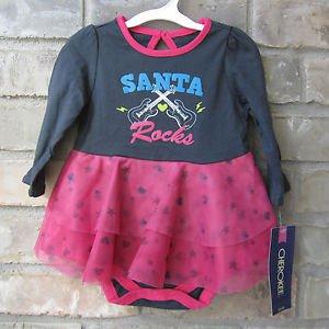 Cherokee Santa Rocks Pink & Gray One Piece w/ Tutu Christmas 6 Months FREE Ship!