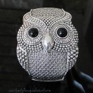 "Owl Cuff Bracelet New Silver Toned Black Eyes Hinged Fits 7"" Wrist NWOT Pier 1"