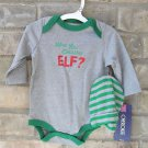 "Cherokee ""Who You Calling ELF?"" Baby Bodysuit w/ Gray & Green Striped Cap 3M"