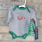 "Cherokee ""Who You Calling ELF?"" Baby Bodysuit w/ Gray & Green Striped Cap NB"