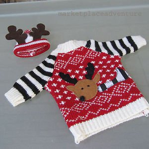 Reindeer Holiday Sweater w/ Beanie 2 pc Set Knitted Applique Doll Bear FREE Ship