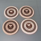 Leather Coaster Set 4 PC Laser Graphic Design Premium Coffee New Free Shipping