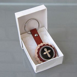 Leather Key Ring Cross Black Plated Concho Gift Box Hand Crafted Western Cowboy