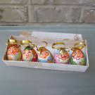 Vintage Set of 5 Egg Shape Wood Ornaments Lime Wood Santa Russian Gloss Lacquer
