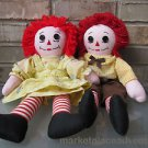 "Raggedy Ann Raggedy Andy 19"" Dolls Button Eyes Yarn Red Hair Chest I Love Heart"