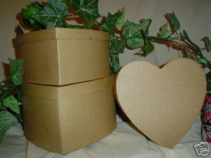 Paper Mache Heart Box Three Piece Set