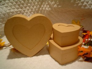 PAPER MACHE HEART BOXES~PHOTO SLOT~READY TO PAINT