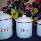 RED AND WHITE Enamelware Canisters~ 3 Piece Set~ Red Trim