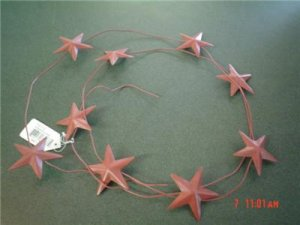6 FT. RED AMERICANA STAR GARLAND~PATRIOTIC DECOR