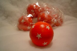Six Red with Stars Ball Ornaments