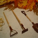 Three Sets Mini Rusty Metal Doll Garden Tools