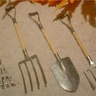 WOOD & GALVANIZED METAL DOLL GARDEN TOOLS