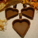 PRIMITIVE (4) COUNTRY HEART CANDLE PANS~PAINT OR DISPLAY