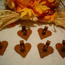 Primitive  Rusty Metal Heart Candle Holders - Six