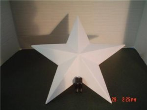 WOODEN 3D BARN STAR 7 3/8  INCH - PRIMED AND READY TO PAINT