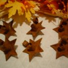 Rusty Primitive Star Candle Clips for Wreaths - One Dozen