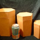 PAPER MACHE TALL HEXAGON BOX SET-READY TO PAINT