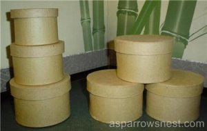 PAPER MACHE (2) ROUND  STACKING BOX SETS -READY TO PAINT