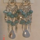 Peruvian Jewelry Alpaca Silver and Blue Casajo Stone Chandeleir Earrings