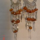 Peruvian Jewelry Alpaca Silver and Brown Casajo Stone Chandeleir Earrings