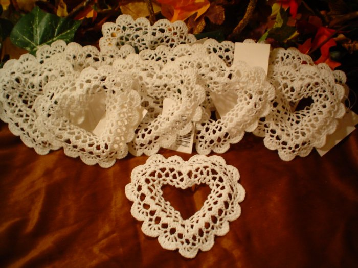 (6) Stiffened Crocheted Heart Ornament