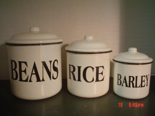 ENAMELWARE CANISTERS � BEAN, RICE, BARLEY