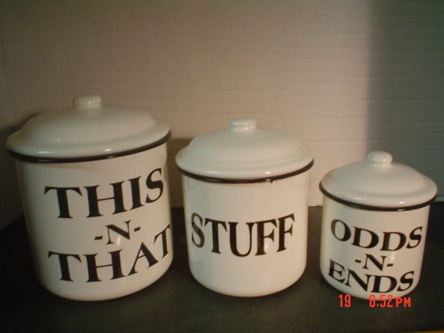 BLACK AND WHITE ENAMELWARE CANISTERS � This n That, Stuff, Odds n Ends