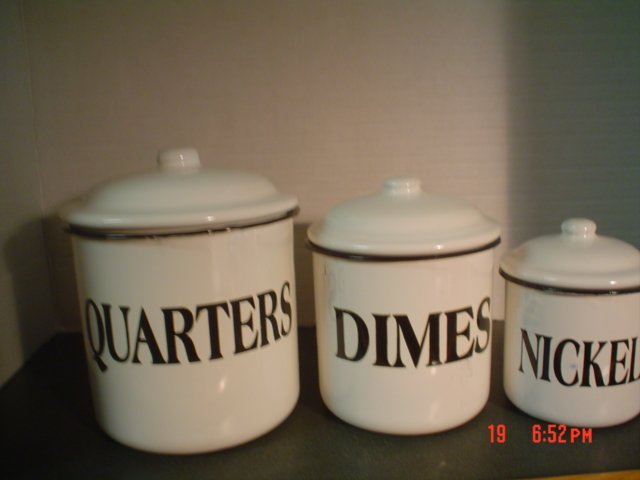 BLACK AND WHITE ENAMELWARE COIN CANISTERS � Quarters, Dimes and Nickels