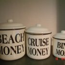 BLACK AND WHITE ENAMELWARE CANISTERS –Beach Money, Cruise Money, Bingo Money