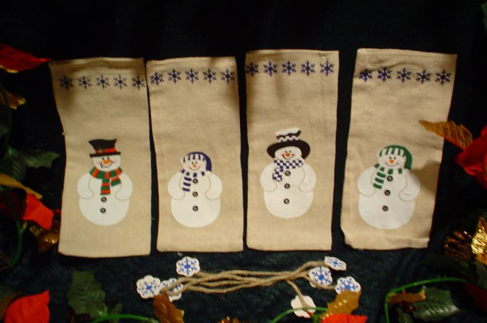 Christmas Snowmen Gift/Cookie Bags with Jutes