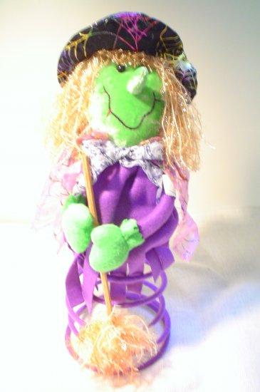 Cute Felt Halloween Witch on a Spring