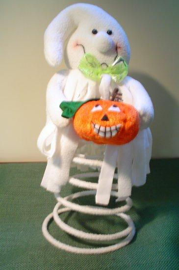 Cute Felt Halloween Ghost on a Spring