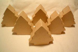 Paper Mache (6) Mini  Christmas Tree Boxes