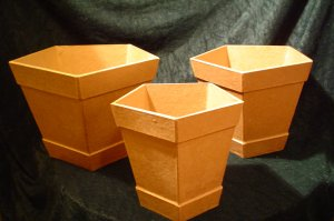 Paper Mache Set of Three Hex Shaped Planters~Ready to Paint