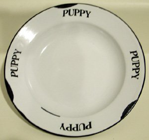 BLACK & WHITE ENAMELWARE PRIMITIVE PUPPY PLATE