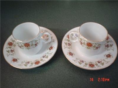 2 Demitasse Cups and Saucers - Fine Porcelain