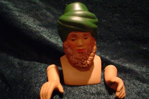 Porcelain Green Turbin Wiseman Doll Kit~ Head 3 inch & Hands