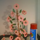 Primitive Spring Pink Flower and Rusty Bell Jingle Tree
