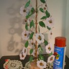 Primitive Spring Blue Flower and Rusty Bell Jingle Tree