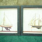 TWO SIMPLE NAUTICAL BOAT PRINTS FRAMED