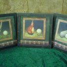 THREE SIMPLE GOLF PRINTS FRAMED