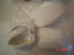 Syndee's Crafts White Baby Doll Shoes & Socks - Size Medium - With Bows