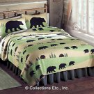 LODGE BEAR FLEECE COVERLET AND SHAMS.